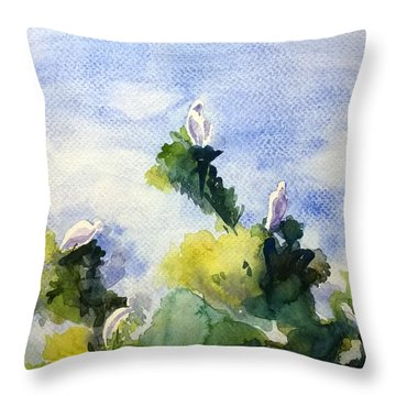 Cattle Egret In India Throw Pillow by Geeta Biswas
