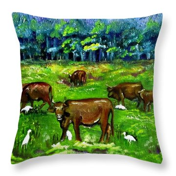 Cattle Grazing With Egrets Throw Pillow