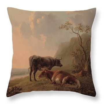 Cattle In An Italianate Landscape Throw Pillow by Jacob van Strij