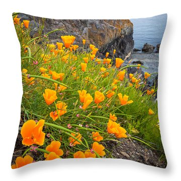 Cattle Point Poppies Throw Pillow