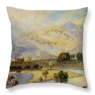 Cattle Watering Throw Pillow by Myles Birket Foster