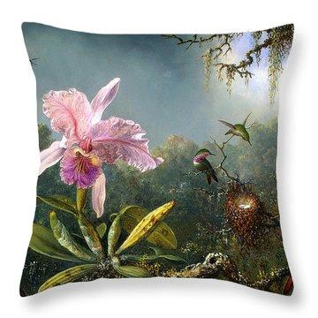 Cattleya Orchid And Three Brazilian Hummingbirds Throw Pillow by Emile Munier