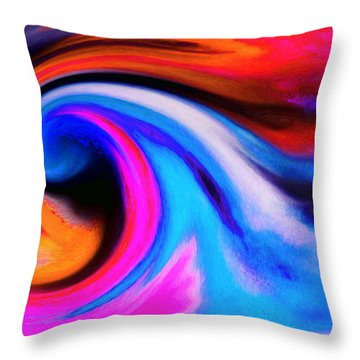 Caught Curl Throw Pillow by Expressionistart studio Priscilla Batzell