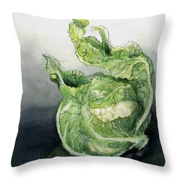 Cauliflower In Reflection Throw Pillow by Maria Hunt