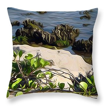 Throw Pillow featuring the painting Causeway Shore Blues by Ecinja