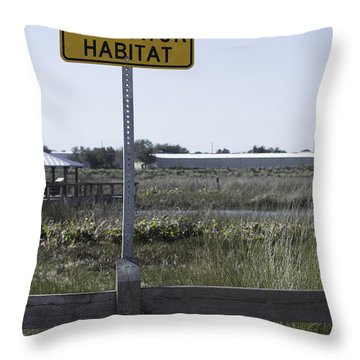 Caution Alligator Habitat Throw Pillow