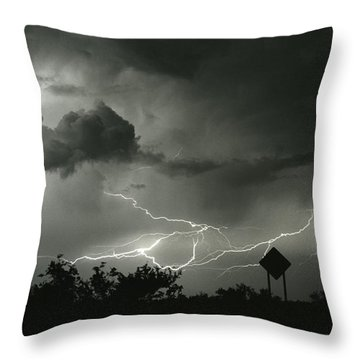 Throw Pillow featuring the photograph Caution Signs by J L Woody Wooden