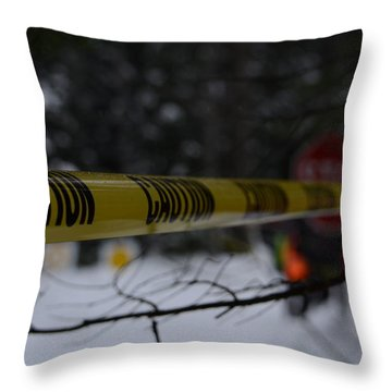 Caution - Sno-drift Rally Throw Pillow