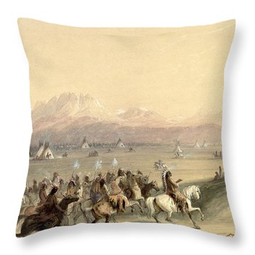 Cavalcade Throw Pillow by Alfred Jacob Miller