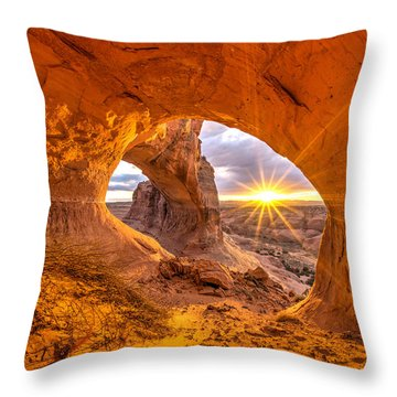 Throw Pillow featuring the photograph Cave Arch by Dustin  LeFevre
