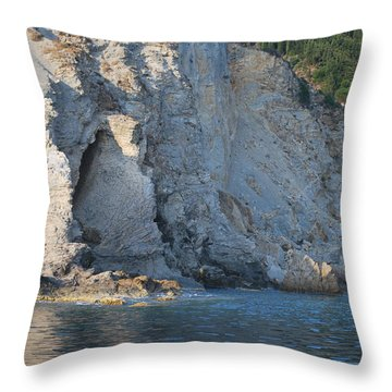 Throw Pillow featuring the photograph Cave By The Sea by George Katechis