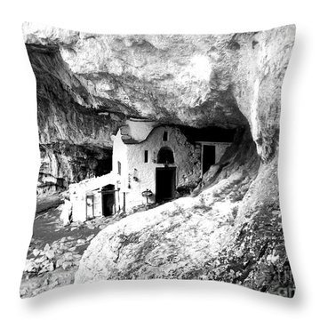 cave church on Mt Olympus Greece Throw Pillow by Nina Ficur Feenan