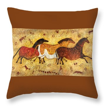 Cave Horses Throw Pillow