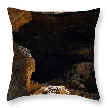 Throw Pillow featuring the photograph Cave Light by Debra Thompson