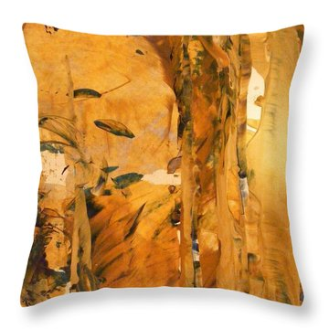 Cave Of Gold Throw Pillow by Nancy Kane Chapman