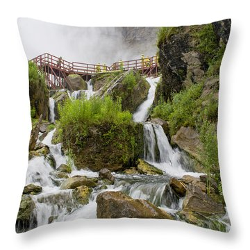 Cave Of The Winds At Niagara Falls Throw Pillow
