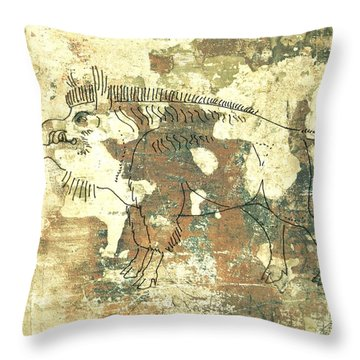 Cave Painting 3 Throw Pillow by Larry Campbell