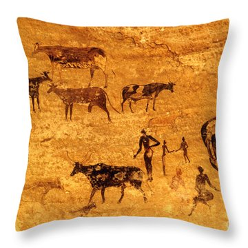 Cave Painting South Algeria Throw Pillow by George Holton