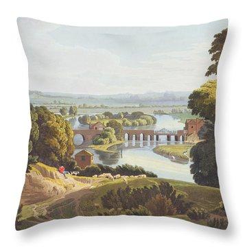 Caversham Bridge, Near Reading Throw Pillow by William Havell
