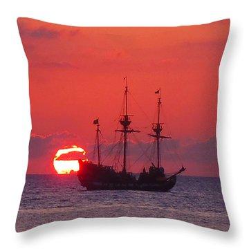 Cayman Sunset Throw Pillow by Carey Chen
