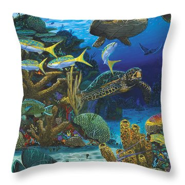 Cayman Turtles Re0010 Throw Pillow by Carey Chen