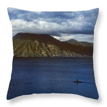 Throw Pillow featuring the photograph Cayuco On Lake Atitlan by Tina Manley