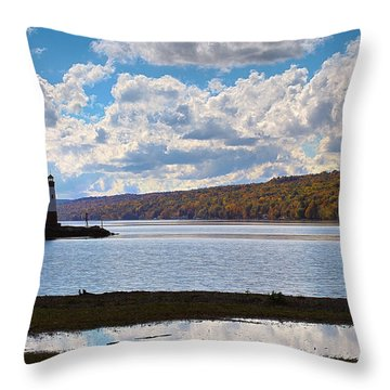 Throw Pillow featuring the photograph Cayuga Lake In Colorful Fall Ithaca New York IIi by Paul Ge