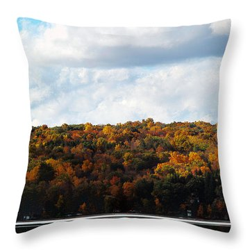 Throw Pillow featuring the photograph Cayuga Lake In Colorful Fall Ithaca New York  by Paul Ge