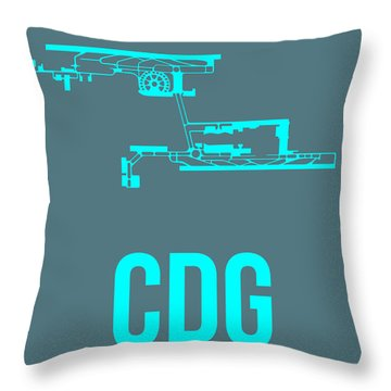 Cdg Paris Airport Poster 1 Throw Pillow by Naxart Studio