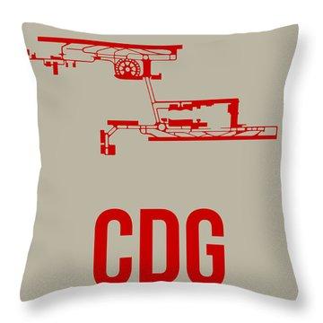 Cdg Paris Airport Poster 2 Throw Pillow by Naxart Studio