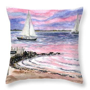 Cedar Beach Pinks Throw Pillow