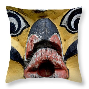 Carved Face Indian Art Photograph Throw Pillow