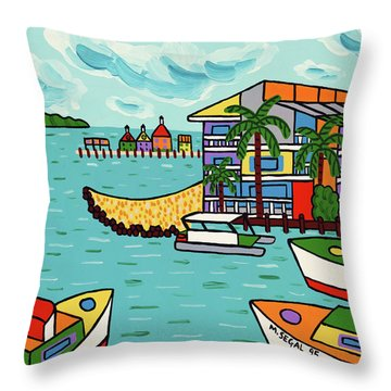 Cedar Cove Marina - Cedar Key Throw Pillow
