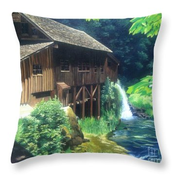 Cedar Creek Grist Mill Throw Pillow by Cireena Katto