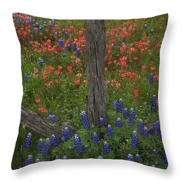 Cedar Fence In Llano Texas Throw Pillow