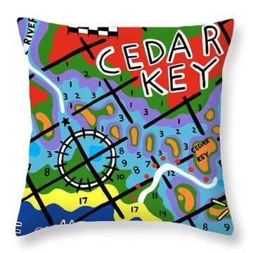 Cedar Key Chart Throw Pillow