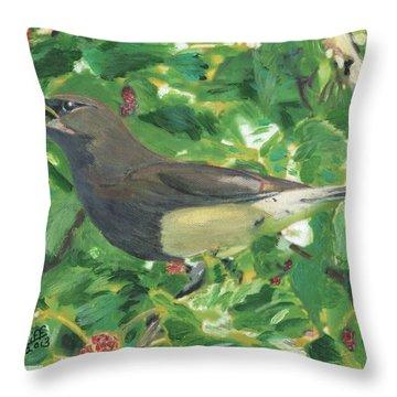 Cedar Waxwing Eating Mulberry Throw Pillow