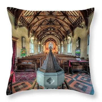 Cefn Stone Font Throw Pillow by Adrian Evans