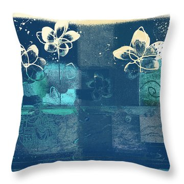 Celebrate - Blue3tx2 Throw Pillow by Variance Collections