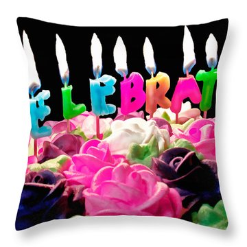 Throw Pillow featuring the photograph Cake Topped With Flowers And Celebrate Candles by Vizual Studio