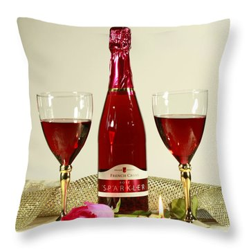 Celebrate With Sparkling Rose Wine Throw Pillow by Inspired Nature Photography Fine Art Photography