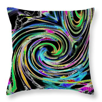 Throw Pillow featuring the painting Celebration Night by Roz Abellera Art