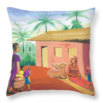 Celebration Of The Nativity In Cameroon Throw Pillow by Emmanuel Baliyanga