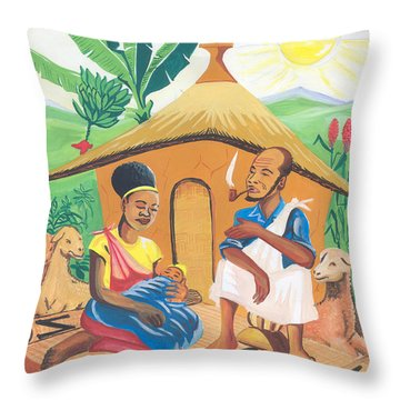 Throw Pillow featuring the painting Celebration Of The Nativity In Rwanda by Emmanuel Baliyanga