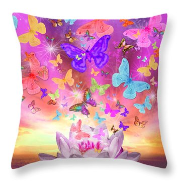 Celestial Butterfly Throw Pillow by Alixandra Mullins