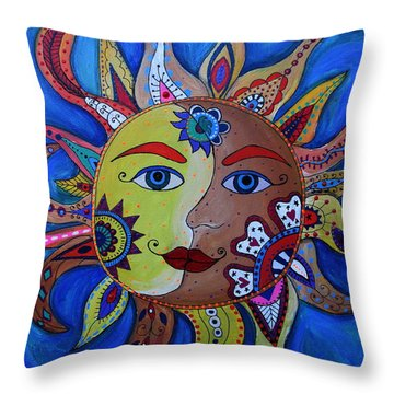 Celestial Sun And Moon Throw Pillow