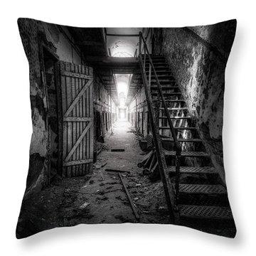 Cell Block - Historic Ruins - Penitentiary - Gary Heller Throw Pillow by Gary Heller