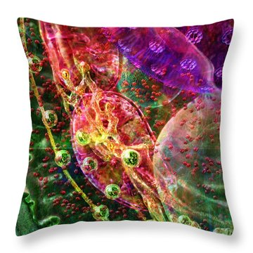 Throw Pillow featuring the digital art Cell Dreaming 8 by Russell Kightley