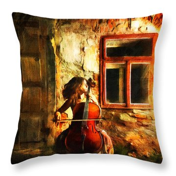 Cellist By Night Throw Pillow