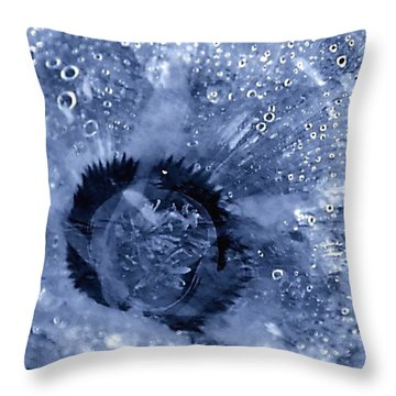 Cellophane Flower- Sapphire Throw Pillow